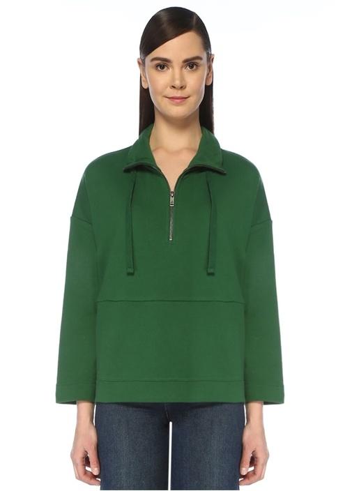 Yeşil Dik Yaka Yarım Fermuarlı Sweatshirt