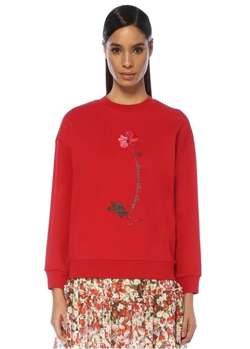 Kırmızı Çiçek İşleme Detaylı Sweatshirt