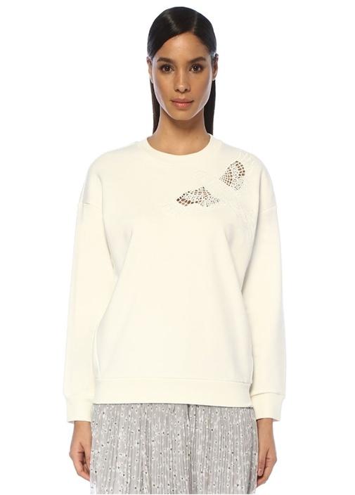 Beyaz Delikli Kuş Nakışlı Sweatshirt