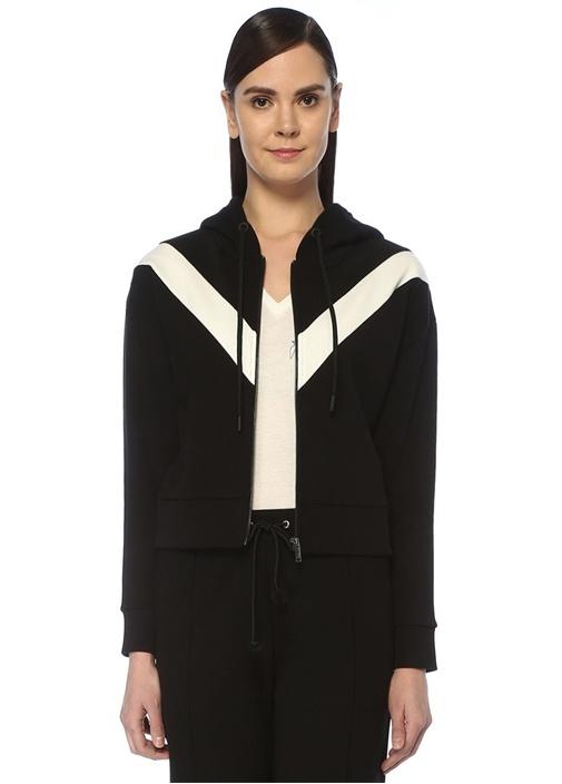 Siyah Kapüşonlu Şeritli Fermuarlı Sweatshirt