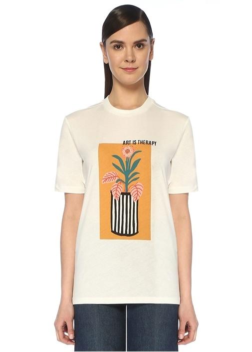 Ekru Pano Baskılı T-shirt