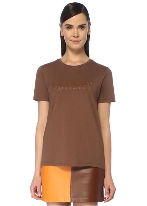 Sunset Kahverengi Taş Baskılı T-shirt