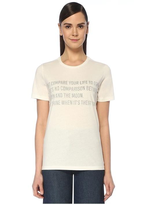 Beyaz Yazı Baskılı Basic T-shirt