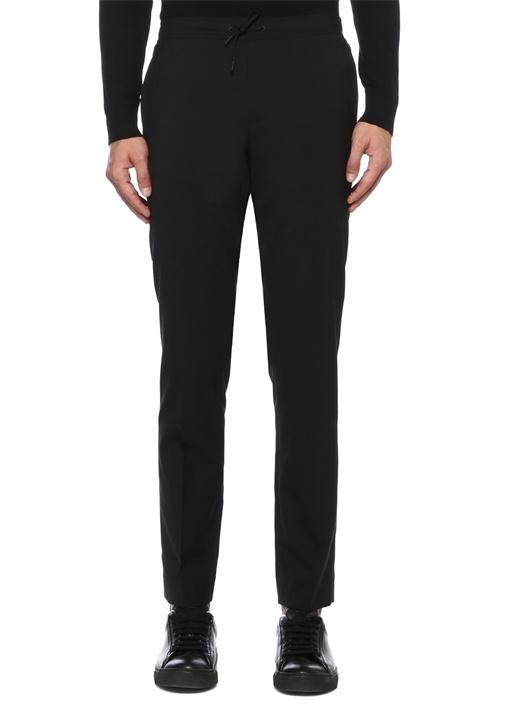Siyah Beli Lastikli Yün Pantolon