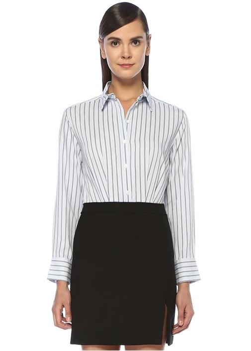 Mavi Siyah Çizgili Mini Gömlek Elbise
