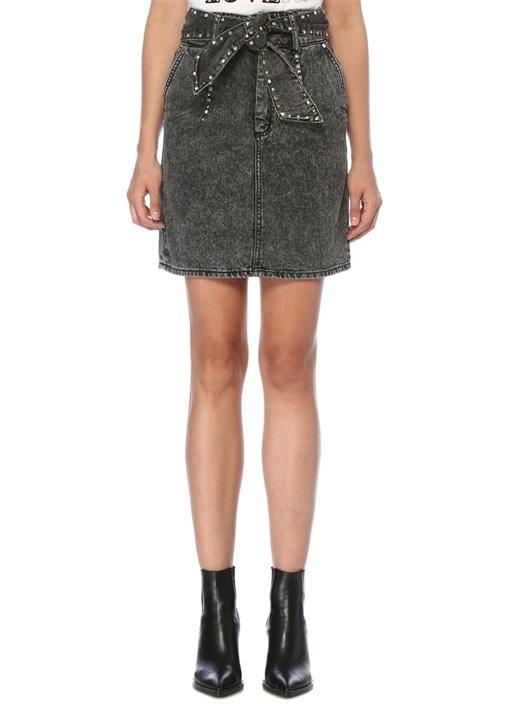 Fredie Siyah Troklu Kuşak Detaylı Mini Jean Etek