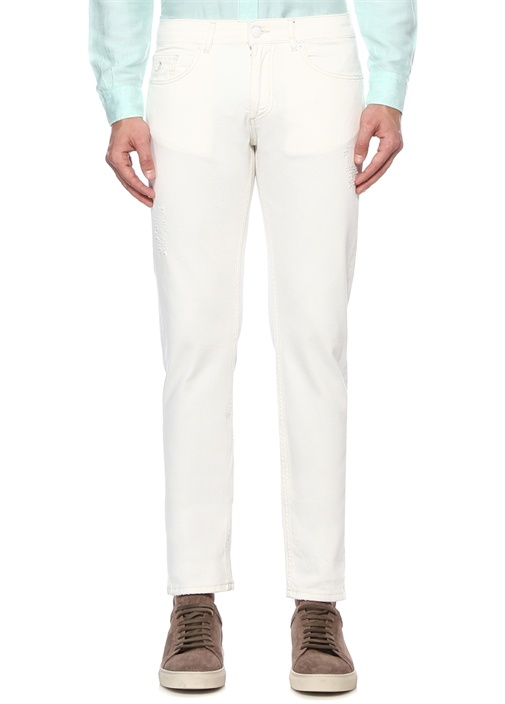 Slim Fit Beyaz Yıpratma Detaylı Jean Pantolon