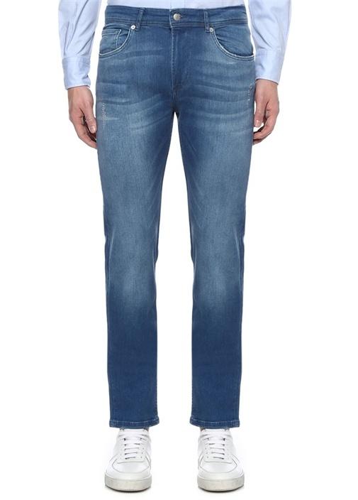 Slim Fit Mavi Yıpratma Detaylı Jean Pantolon