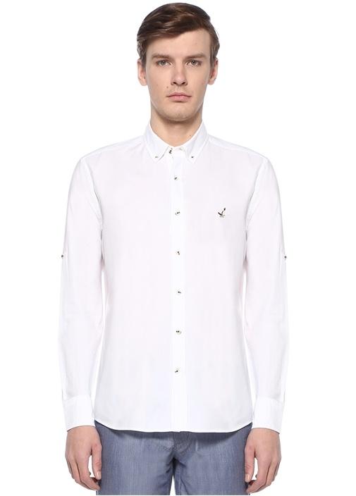 Slim Fit Beyaz Polo Yaka Logolu Gömlek