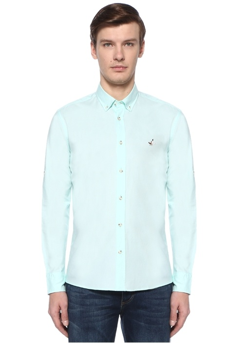 Slim Fit Yeşil Polo Yaka Logolu Gömlek