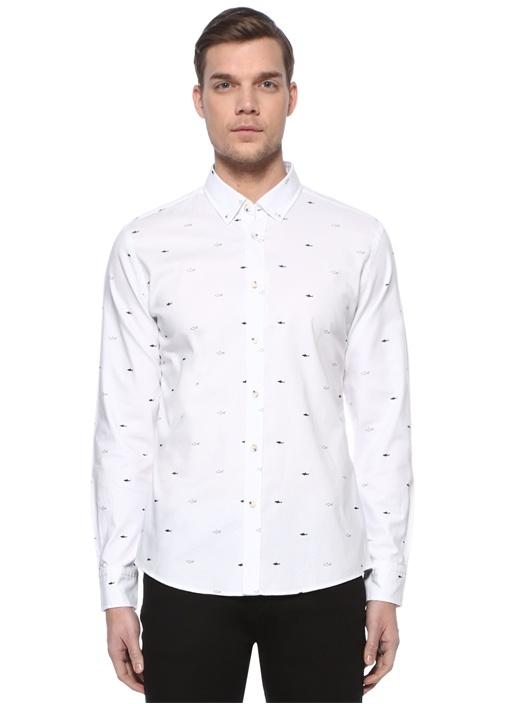 Slim Fit Beyaz Köpekbalığı Desenli Gömlek