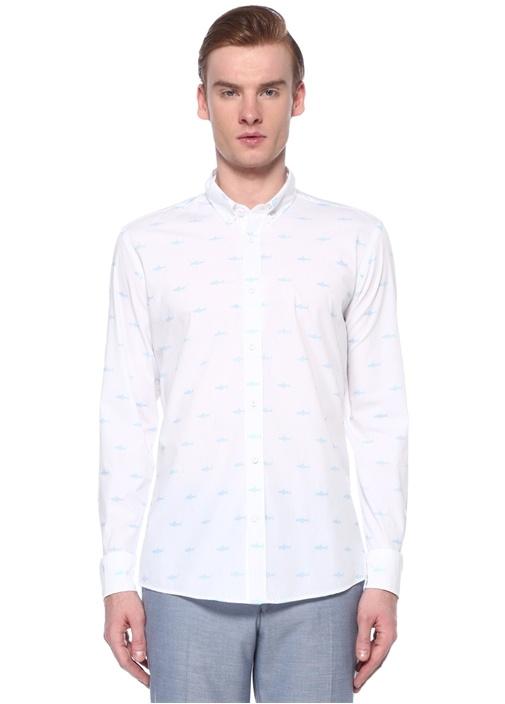 Slim Fit Polo Yaka Origami Balık Baskılı Gömlek