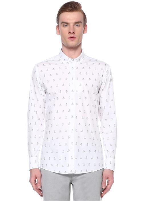 Slim Fit Polo Yaka Origami Çapa Baskılı Gömlek