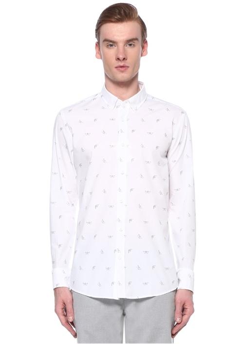 Slim Fit Polo Yaka Origami Kayık Baskılı Gömlek