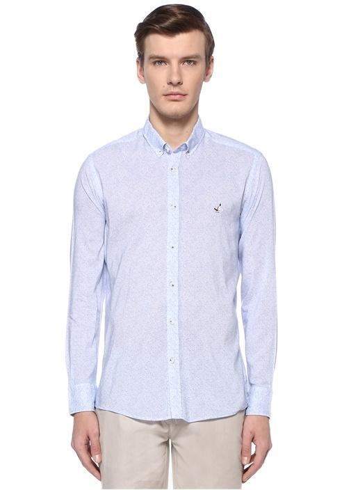 Slim Fit Mavi Polo Yaka Mermer Desenli Gömlek