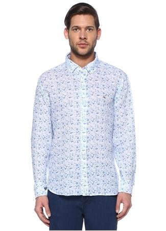 Beymen Club Erkek Comfort Fit Balık Desenli Keten Gömlek Mavi S male