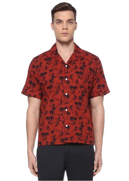 Kiremit Palmiye Baskılı Apaç Yaka Gömlek
