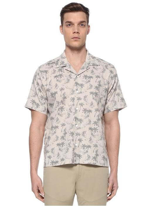 Gri Palmiye Baskılı Apaç Yaka Gömlek