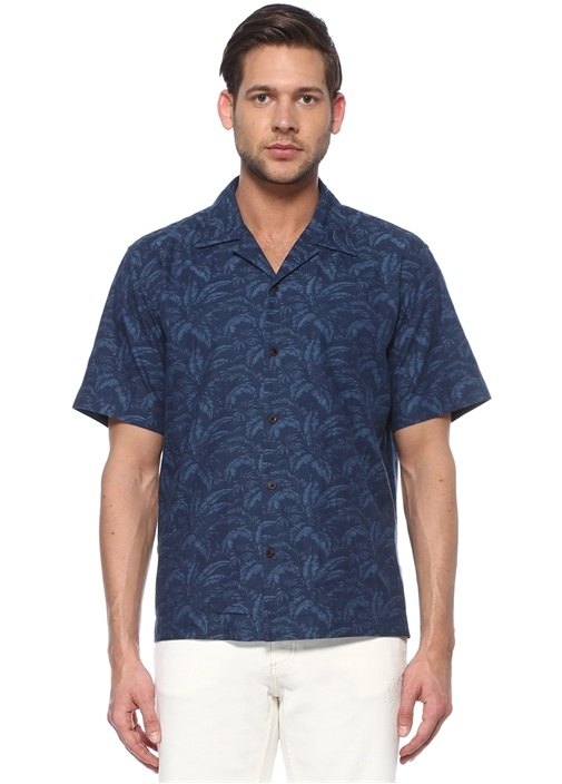 Custom Fit Lacivert Tropik Desenli Gömlek