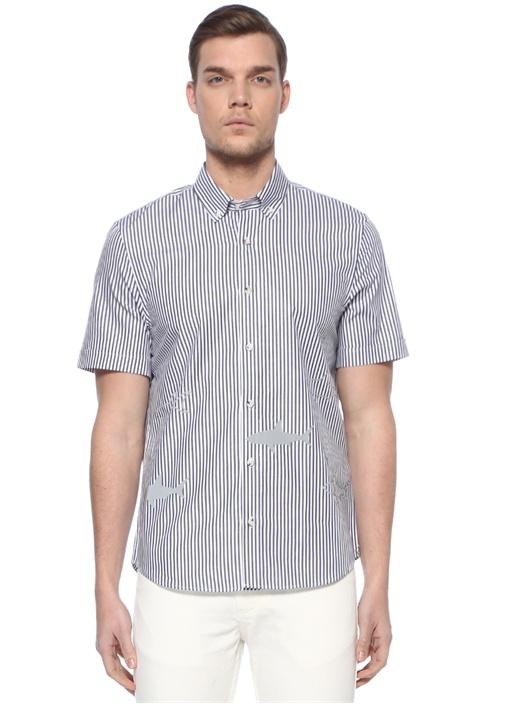 Slim Fit Reflektif Balık Baskılı Çizgili Gömlek