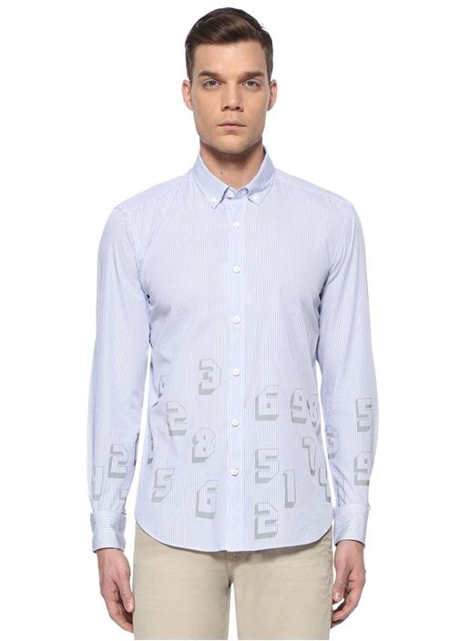 Comfort Fit Mavi Çizgili Reflektif Rakamlı Gömlek