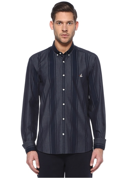 Comfort Fit Lacivert Çizgili Gömlek
