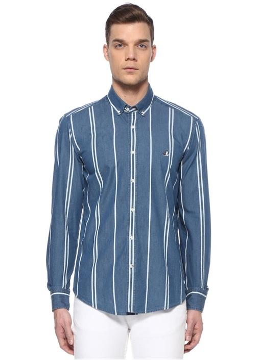 Comfort Fit Mavi Polo Yaka Çizgi Desenli Gömlek