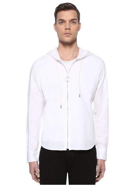Beyaz Kapüşonlu Keten Karışımlı Gömlek