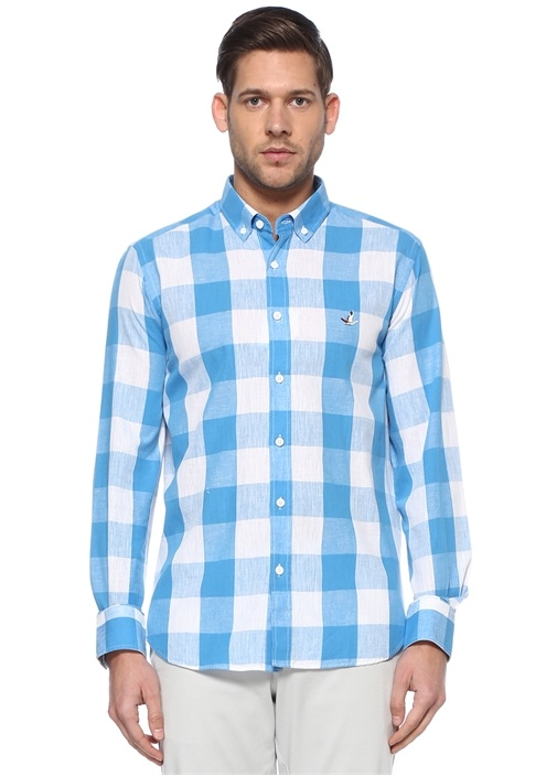 Comfort Fit Mavi Kare Desenli Gömlek