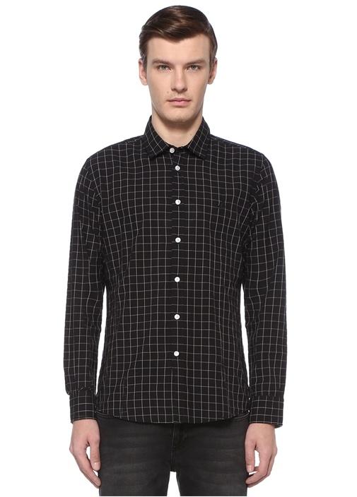 Slim Fit Siyah Polo Yaka Kareli Gömlek