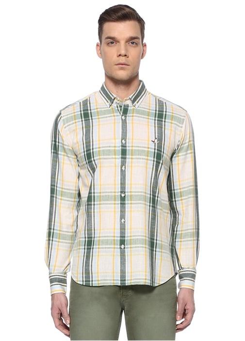 Comfort Fit Yeşil Bej Ekose Desenli Gömlek