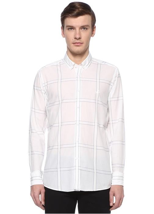 Slim Fit Beyaz Polo Yaka Ekoseli Gömlek