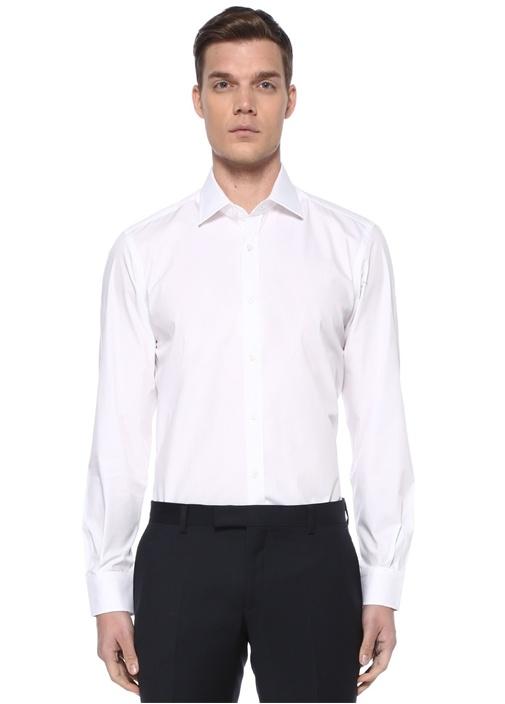 Custom Fit Beyaz Klasik Yaka Dört Mevsim Gömlek