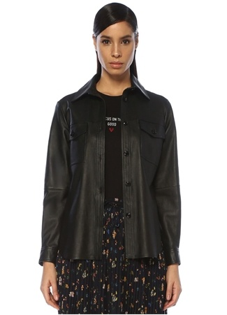 Beymen Club Kadın Siyah Cep Detaylı Deri Gömlek XS