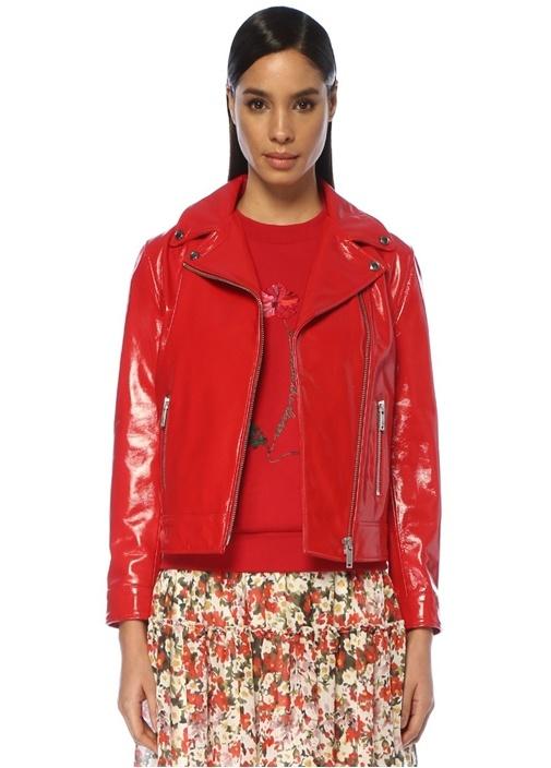 Kırmızı Kelebek Yaka Biker Rugan Ceket