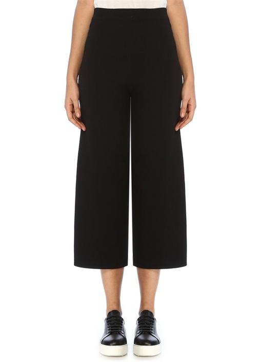 Siyah Kontrast Şeritli Bol Paça Triko Pantolon