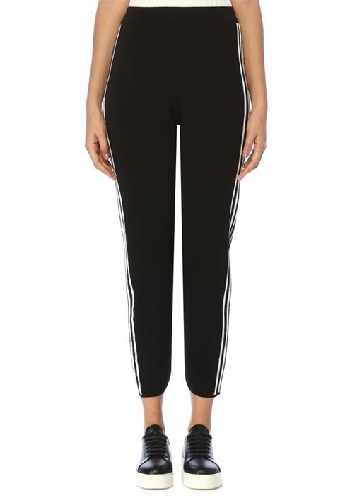 Siyah Beyaz Simli Şeritli Triko Pantolon