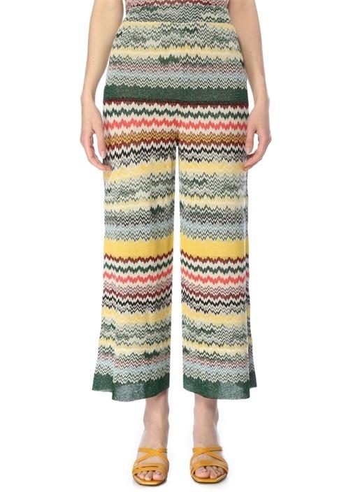 Colorblocked Desenli Triko Pantolon