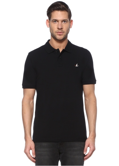 Comfort Fit Siyah Polo Yaka Logolu T-shirt
