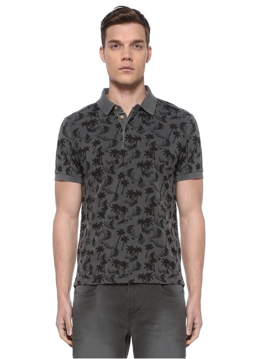Slim Fit Antrasit Tropik Baskılı Polo Yaka T-shirt