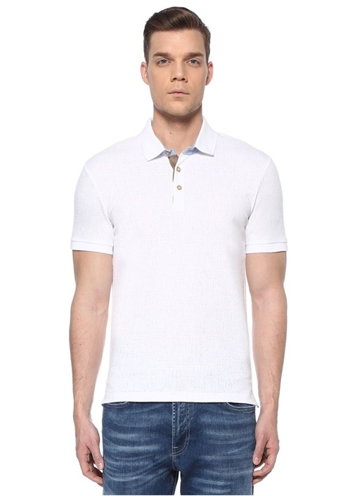 Slim Fit Beyaz Polo Yaka Dokulu T-shirt