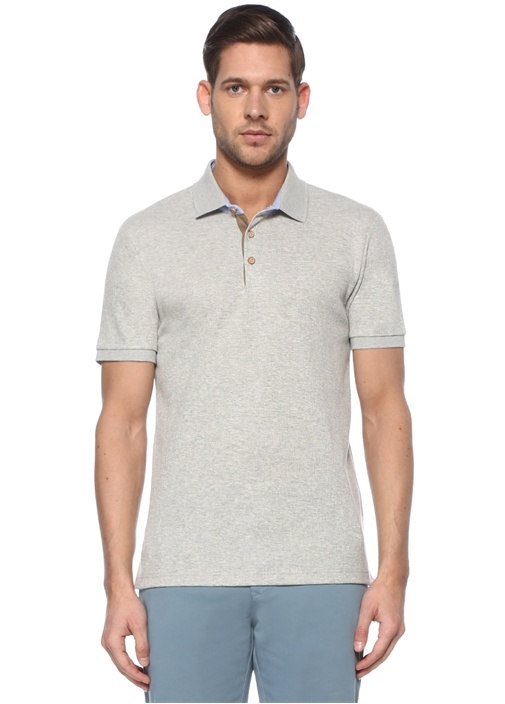 Slim Fit Gri Melanj Oxford Detaylı Dokulu T-shirt