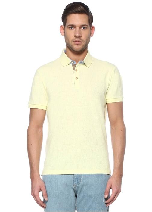 Slim Fit Beyaz Oxford Detaylı Dokulu T-shirt