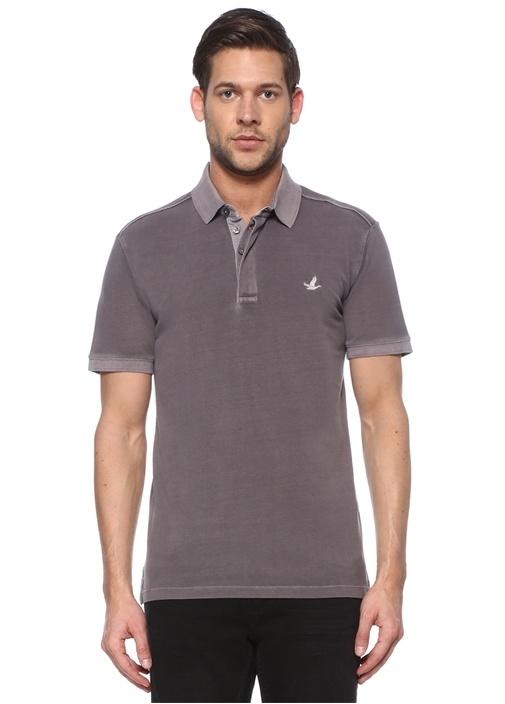 Slim Fit Antrasit Pike Dokulu Polo Yaka T-shirt