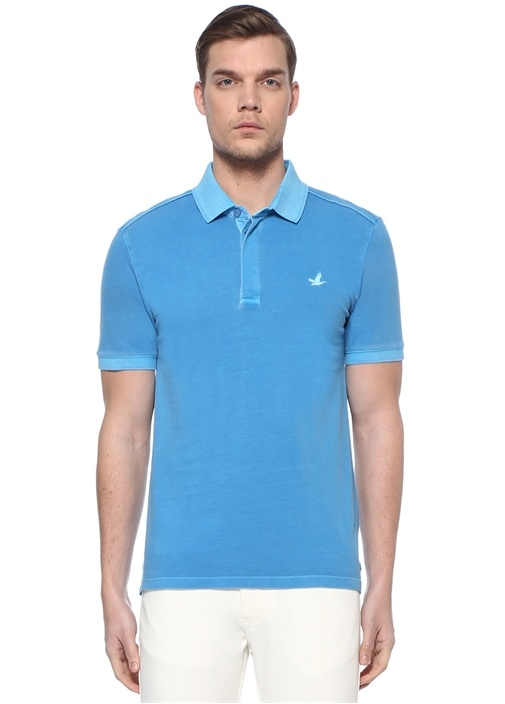 Slim Fit Mavi Polo Yaka Logolu T-shirt