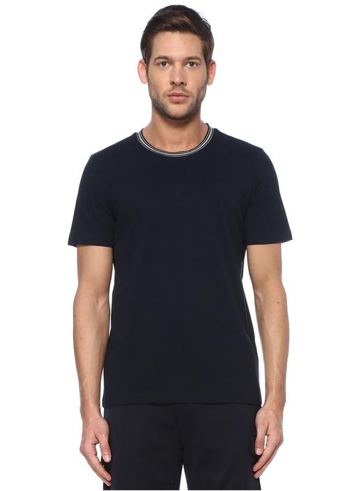 Lacivert Çizgili Yakalı T-shirt
