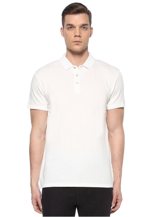Slim Fit Beyaz Polo Yaka Jakarlı T-shirt