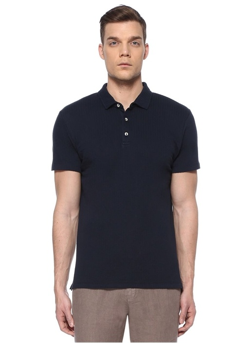 Slim Fit Lacivert Polo Yaka Jakarlı T-shirt