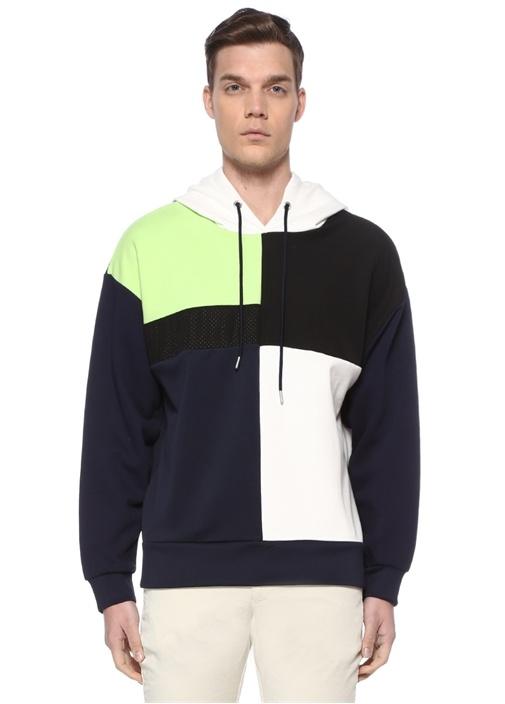 Colorblocked Kapüşonlu Garnili Sweatshirt