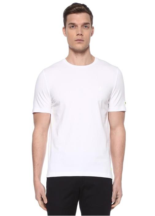 Beyaz Kuşgözü Detaylı Logo Patchli Basic T-shirt